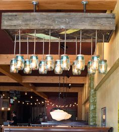 Waylon Reclaimed Wood & Mason Jar Chevron Chandelier by Red Picket Fence on Scoutmob Shoppe. Reclaimed barnwood (not pallet wood!) and hanging mason jars.