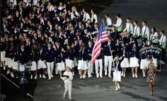 U.S. Olympic athletes marching in during the 2012 Opening Ceremonies' Parade of Nations