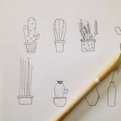 Mal di pancia un the caldo e un cioccolatino (che serve all'umore!). Poi ho preso la matita e ho cominciato a disegnare piantine grasse come se non ci fosse un domani...   #fiidesign #graphic #grafica #illustration #plants #draw #drawing by federicafiidesign
