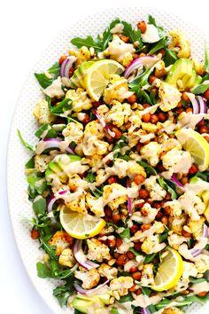 Roasted Cauliflower, Chickpea and Arugula Salad | gimmesomeoven.com
