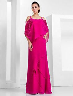 Sheath/Column Spaghetti Straps 3/4 Length Sleeves Floor-length Chiffon Evening Dress