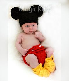 SALE  Mickey Mouse diaper cover, hat, and shoes set. Size 0-3 months. Great for photo prop. on Etsy, $35.95