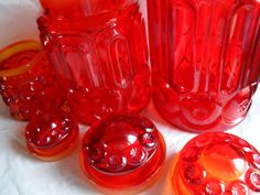 Amberina Glass Canister Set L.E.Smith