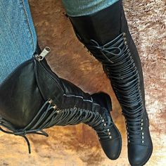 What's Hot! Amazing Black Combat Boots!