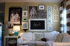 Gallery Wall- LOVE!!  Behind the couch.