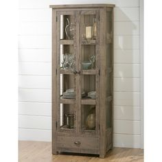 Jofran Slater Mill Pine Display Cupboard with Tall and Thin Construction - Furniture and ApplianceMart - China Cabinet Stevens Point, Rhinelander, Wausau, De Pere, Waupaca, Green Bay, Marshfield, Wisconsin I want this in dark wood... Anyone seen something similar???