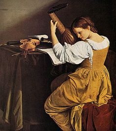 """""""The Lute Player"""" by Orazio Gentileschi. (Florentine) c oil on canvas. Another Caravaggio-inspired artist. In the collection of The National Gallery of Art, Washington, DC. Artemisia Gentileschi, Orazio Gentileschi, National Gallery Of Art, Art Gallery, Italian Baroque, Baroque Art, Baroque Painting, Italian Renaissance, Renaissance Art"""