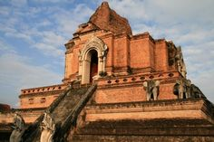 Wat Chedi Luang, Chiang Mai, Thailand. A nice girl in Thailand sent me a pic of this on a postcard thru Postcrossing. Makes me want to visit, along with many other sacred places in the world.