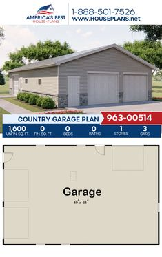 A country style garage, Plan 963-00514 details 1,600 sq. ft. for 3 cars. #architecture #houseplans #housedesign #homedesign #homedesigns #architecturalplans #newconstruction #floorplans #dreamhome #dreamhouseplans #abhouseplans #besthouseplans #newhome #newhouse #homesweethome #buildingahome #buildahome #residentialplans #residentialhome Best House Plans, Country House Plans, Dream House Plans, Dormer Windows, New Construction, Country Style, Building A House, Architecture Design, Sweet Home