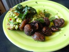 Power lunch - roasted chestnut salad (tip: if you bake chestnuts long enough, they caramelise)