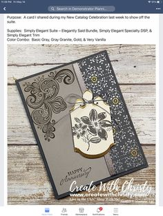 Card Crafts, Paper Crafts, Wedding Aniversary, Stampinup, New Catalogue, Stampin Up Catalog, Basic Grey, Trim Color, Creative Cards
