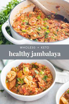 This healthy jambalaya recipe is a and low carb version of an authentic Cajun dish. With sausage and shrimp, this paleo Creole recipe is even keto friendly, thanks to cauliflower rice! Surprisingly easy, too, and it comes together in a little less Creole Recipes, Cajun Recipes, Healthy Crockpot Recipes, Paleo Recipes, Cajun Food, Healthy Jambalaya Recipe, Paleo Food, Raw Food, Recipes Dinner
