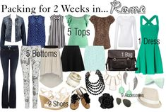 """""""Packing for 2 Weeks in... Rome"""" by fashion-by-k on Polyvore"""