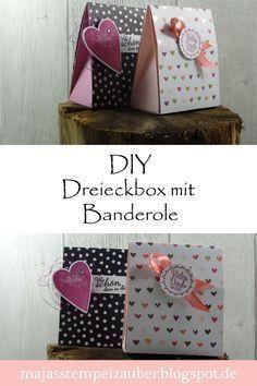 DIY und Videoanleitung für eine tolle Dreieckbox mit Banderole. Verwendet habe ich die Stampin Up Produkte