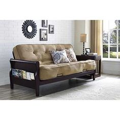 The Better Homes and Gardens Wood Arm Futon with Coil Mattress is the most productive bet for any up to date living space. Use it as a sofa all over the day and convert it into a full-size sleeper in Futon Diy, Futon Bedroom, Futon Sofa Bed, Futon Mattress, Mattress Sets, Sleeper Sofas, Dorm Futon, Mattress Frame, Tufted Sofa