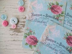 Small notecards - mini notecards - Shabby country - crown - blue - French notecards - embellishments