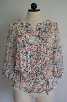 a.n.a. Floral Print Pleated Bodice Button Down Peasant Boho Blouse Shirt- PL