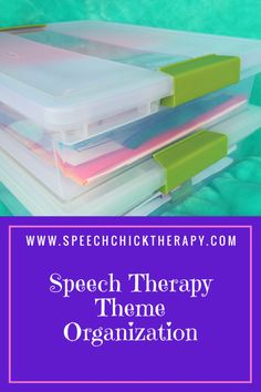 """Thematic Organization for speech therapy can be tricky. See how I made a """"travel SLP friendly"""" system!"""
