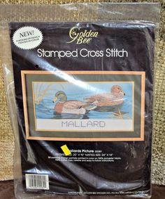 Golden Bee Stamped Cross Stitch Kit 20289 Mallard Duck Picture Vintage 1988…