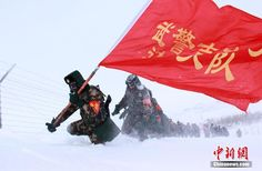 A border security brigade on patrol along the northern border in Xinjiang Uyghur Autonomous Region.