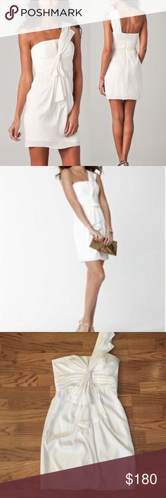 New white one shoulder dress Effect for engagement party, bridal shower, bachelorette party, rehearsal dinner or any formal event! Very soft silk like material BCBGMaxAzria Dresses