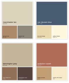 My house's Palette - mainly Manchester Tan (love) and Bennington Grey for depth. Accented with Rust and Navy. Looks better than it sounds :)