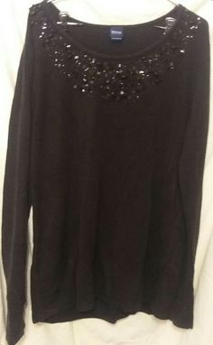 Plus Size XL 1X Basic Editions Black w/ Sequins Beads Jewels Soft Knit Top Long Sleeves  Black sequin scoop neck long sleeve shirt with lots of pretties at the top....   https://nemb.ly/p/N1vvvFAab Happily published via Nembol