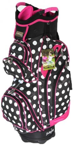 Pink Polka Dot Molhimawk Ladies Golf Cart Bag available at Lori's Golf Shoppe Golf Attire, Golf Outfit, Golf With Friends, Ladies Golf Bags, Golf Cart Accessories, Golf Clubs For Sale, Golf Videos, Golf Gifts, Golf Fashion