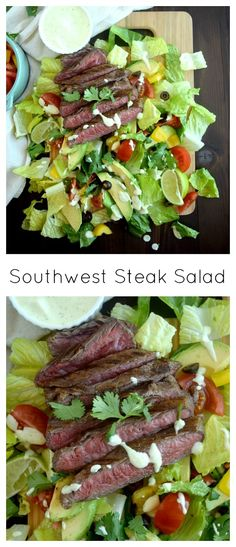 Paleo Southwest Steak Salad | Marinade: 1- 1½ Pounds flank steak; Juice from 1 lime; 3 T avocado oil; 1 tsp salt; ½ tsp dried oregano; ½ tsp paprika; ½ tsp cumin; ¼ tsp onion powder; ¼ tsp garlic powder; ¼ tsp black pepper | Salad: 1 Head of romaine lettuce; 1 Yellow bell pepper; 1 C grape tomatoes; 1 Large hass avocado; 1 (2.25) oz can sliced black olives; Cilantro to garnish | Dressing: ½ C avocado oil mayo; cilantro; 1 T lime juice; 2-3 T coconut milk