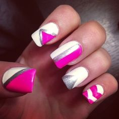 Pink and White NailArt