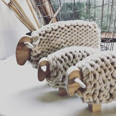This ewe and her lambs are heading to the Hay Ag and Pastoral Innovation Expo tomorrow with I have been so thankful for… Sheep Crafts, Yarn Crafts, Wood Crafts, Diy And Crafts, Crochet Crafts, Sheep Art, Sheep And Lamb, Wooden Animals, Knitting Kits