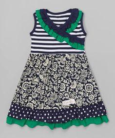 Look what I found on #zulily! Navy & Green Floral A-Line Dress - Infant, Toddler & Girls #zulilyfinds