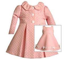 Classy in pink  $38 Bonnie Baby Girls Pink Jacquard Dot Coat  Dress Set , Pink , 12 - 24 Months