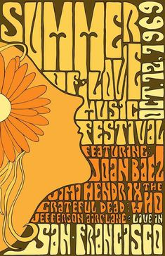 1969 Summer of Love Music Festival Poster Jimi Hendrix Joan Baez San Francisco The Who Jefferson Airplane