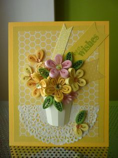 """Handmade Yellow Greeting Paper Quilling Card """"Best Wishes"""" with Quilled Flowers (Congratulations, Birthday, Anniversary) by Kim Arsenault Paper Quilling Cards, Paper Quilling Flowers, Origami And Quilling, Quilled Paper Art, Paper Quilling Designs, Quilling Craft, Quilling Patterns, Paper Cards, Quilling Ideas"""