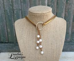 Gold and Brown Leather Pearl Lariat Choker Necklace by LondonsDesigns on Etsy