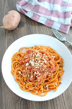 Inspiralized Blog:  Quinoa Sweet Potato Noodle Bolognese with Toasted Crushed Almonds