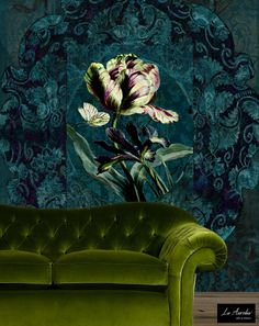 'Jardin' Wallpaper by La Aurelia Luxury Wallpaper, Modern Wallpaper, Designer Wallpaper, Vinyl Wallpaper, Interiores Art Deco, Modern Baroque, My Ideal Home, Green Rooms, Green Print
