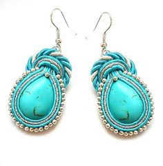 Items similar to SALE SALE Earrings soutache with stones turquoise. In colors : turquoise, silver and white. on Etsy Denim Earrings, Soutache Earrings, Clay Earrings, Drop Earrings, Beaded Bags, Beaded Jewelry, Handmade Jewelry, India Jewelry, African Jewelry