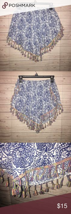 Super Cute Shorts Cute blue and white shorts with colorful detail all the way around. Size x-large. Shorts
