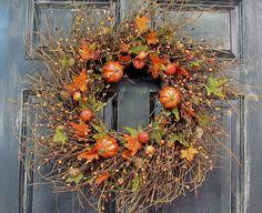 Fall Home Decor  Fall Pumpkin Berry  Wreath   by Designawreath, $69.95