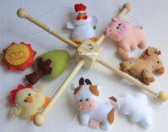 Baby Crib Mobile ,farm Friends-lovely Farm -wool Felt Hanging Mobile Nursery…