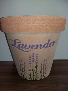 flowerpot, acrylic paint, lavender, ceramic
