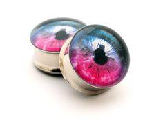 Eyeball Picture Plugs gauges  16g 14g 12g by mysticmetalsorganics, $17.99