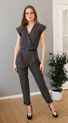Short sleeve pockets V neck jumpsuit, Romper by Cultofdress on Etsy