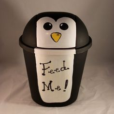 Cute Penguin Trashcan- I've been wanting to paint my trash can for a long time now but I think this one is the winner.