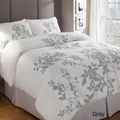 Silent Woods Cotton 3-piece Duvet Cover Set | Overstock.com / Ho with the leaf fram bed Pretty