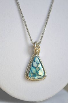 Vintage Blue Abalone Shell Pendant Necklace by talkOfThetown, $22.00