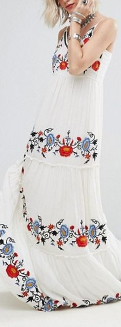 Bohemian Chic Summer & Spring Dress - Jastie White Dress Floral Embroidered Maxi Dress Elegant Party Dress Boho People Casual Beach Long Dresses Summer Women Vestidos from BohoGipsy,Store Beautiful Summer Dresses, Long Summer Dresses, Long Dresses, Dress Summer, Maxi Dresses, Elegant Party Dresses, Casual Dresses, Unique Dresses, Casual Wear