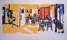 Café le repos Linogravure Juliette, Linocut Prints, Printmaking, Artwork, Etchings, Prints, Rest, Lino Prints, Open Set